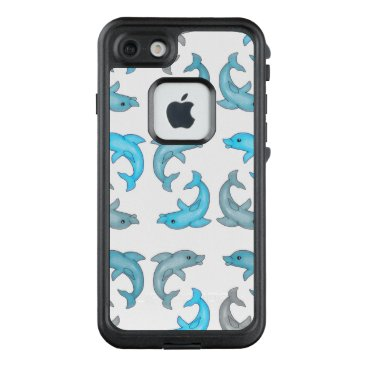 Beach Themed Summer Blue Gray Cute Dolphins Illustrations LifeProof FRĒ iPhone 7 Case