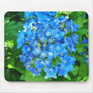 summer blue hydrangea flowers and its green leaves mouse pad