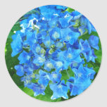 summer blue hydrangea flowers and its green leaves round stickers