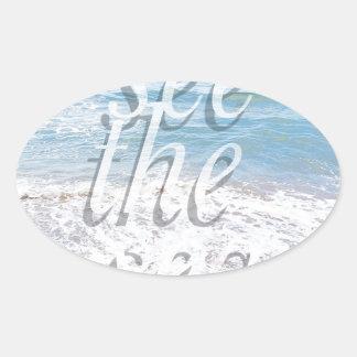 summer blue sea.jpg oval sticker