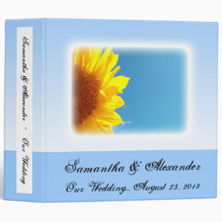 Summer Blue Sky with Yellow Sunflower 3 Ring Binder
