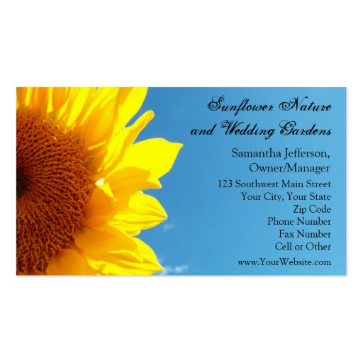 Summer Blue Sky with Yellow Sunflower Business Card