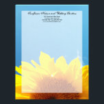 """Summer Blue Sky with Yellow Sunflower Letterhead<br><div class=""""desc"""">Beautiful scenic image of bright yellow young summer sunflower against the blue sky with white clouds. Perfect for a summer wedding theme. Wedding invitation and matching accessory set. &#169; 2010 www.CustomInvitesOnline.com This item is avaliable as a complete wedding collection including invitations, RSVP cards, Save the Dates, Magnets, Stickers, Table Place...</div>"""