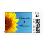 Summer Blue Sky with Yellow Sunflower Postage Stamps