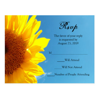 Summer Blue Sky with Yellow Sunflower RSVP Reply Postcard