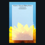 "Summer Blue Sky with Yellow Sunflower Stationery<br><div class=""desc"">Beautiful scenic image of bright yellow young summer sunflower against the blue sky with white clouds. Perfect for a summer wedding theme. Wedding invitation and matching accessory set. &#169; 2010 www.CustomInvitesOnline.com This item is avaliable as a complete wedding collection including invitations, RSVP cards, Save the Dates, Magnets, Stickers, Table Place...</div>"