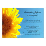 Summer Blue Sky, Yellow Sunflower Birthday Party Personalized Announcement