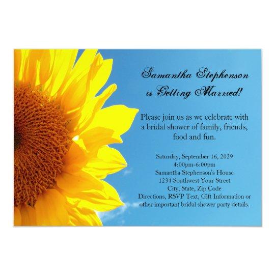 Summer Blue Sky, Yellow Sunflower Bridal Shower Card