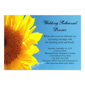 Summer Blue Sky, Yellow Sunflower Rehearsal Dinner 5x7 Paper Invitation Card