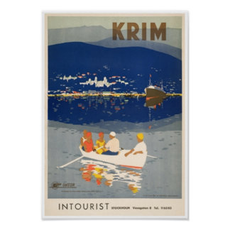Summer Boating in Krim Crimea Vintage Travel Poster