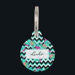 "Summer bold tropical pink turquoise floral pattern pet ID tag<br><div class=""desc"">Summer bold tropical pink turquoise floral pattern geometric chevron by Girly Trend</div>"