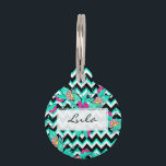 """Summer bold tropical pink turquoise floral pattern pet ID tag<br><div class=""""desc"""">Summer bold tropical pink turquoise floral pattern geometric chevron by Girly Trend</div>"""