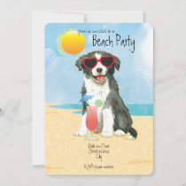 Summer Border Collie Beach Party Invitation