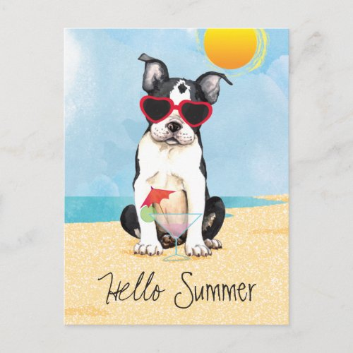 Summer Boston Terrier Postcard