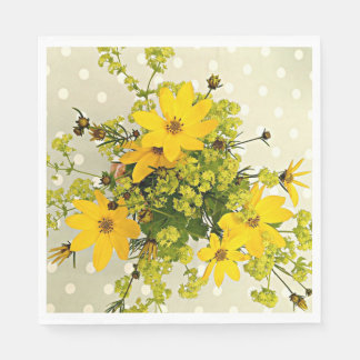 Summer Bouquet, Sunshine Yellow Flowers Paper Napkin
