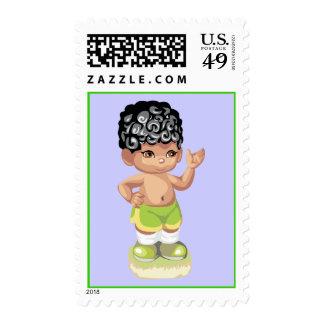Summer Boy Postage Stamp