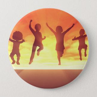 Summer Break School Holidays with Kids Celebrating Button