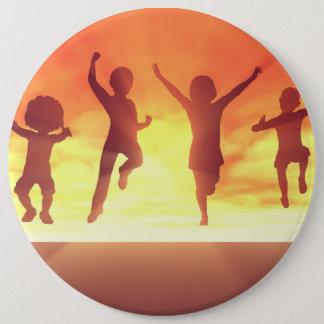 Summer Break School Holidays with Kids Celebrating Pinback Button