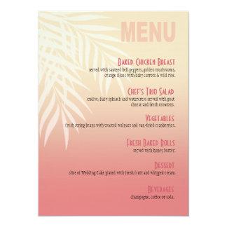 Summer Breeze Beach Dinner Menu   pink Card
