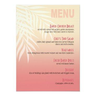 Beach Themed Summer Breeze Beach Dinner Menu | pink Card