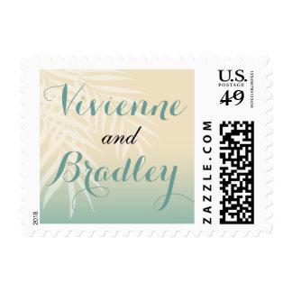 Summer Breeze Beach Wedding | mint blue Postage Stamp