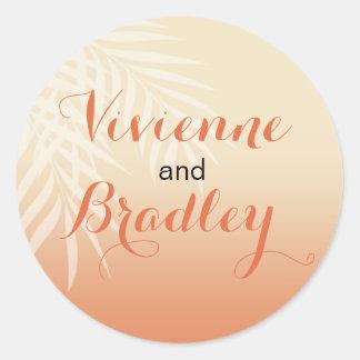 Summer Breeze Beach Wedding | peach Classic Round Sticker