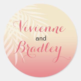 Summer Breeze Beach Wedding | pink Classic Round Sticker