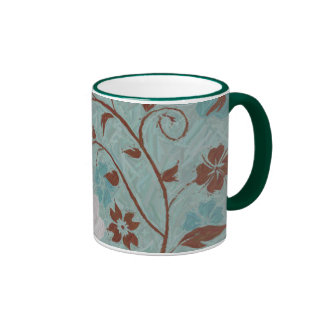Summer Breeze Floral Collection Green Ringer Coffee Mug