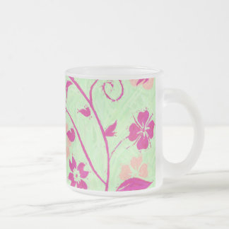 Summer Breeze Floral Collection Light Green Frosted Glass Coffee Mug