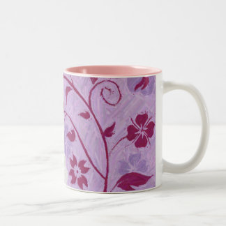 Summer Breeze Floral Collection Purple Two-Tone Coffee Mug