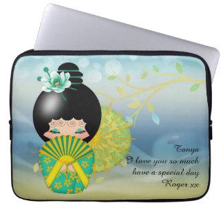 Summer Breeze Kokeshi Doll Laptop Case / Sleeve Laptop Computer Sleeve