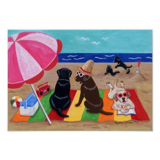Summer Breeze Labradors Artwork Poster