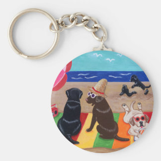 Summer Breeze Labradors Painting Basic Round Button Keychain