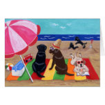 Summer Breeze Labradors Painting Card