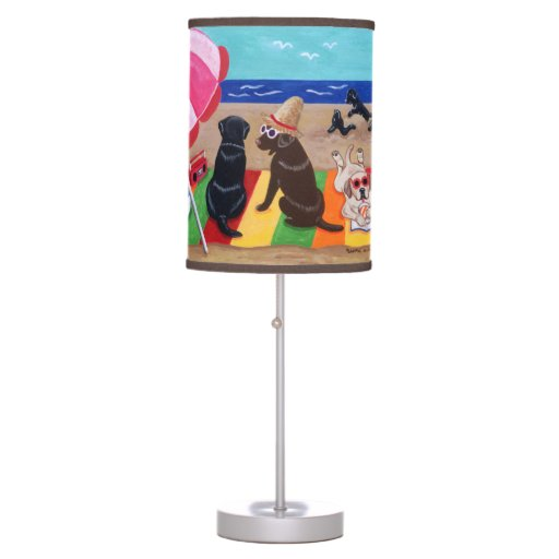 Summer Breeze Labradors Painting Desk Lamp