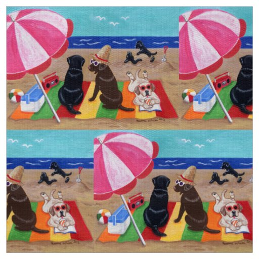 Summer Breeze Labradors Painting Fabric