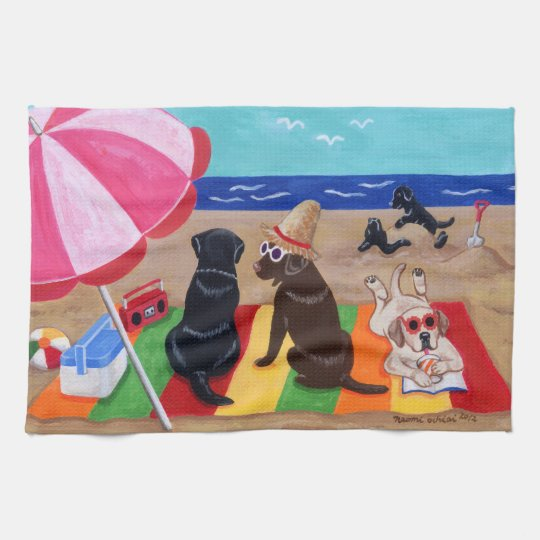 Summer Breeze Labradors Painting Hand Towels
