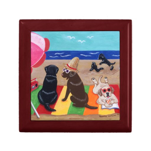 Summer Breeze Labradors Painting Jewelry Box