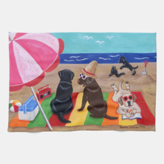 Summer Breeze Labradors Painting Kitchen Towel