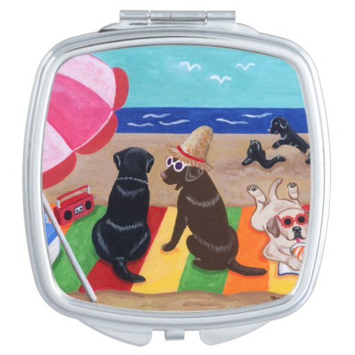Summer Breeze Labradors Painting Makeup Mirror