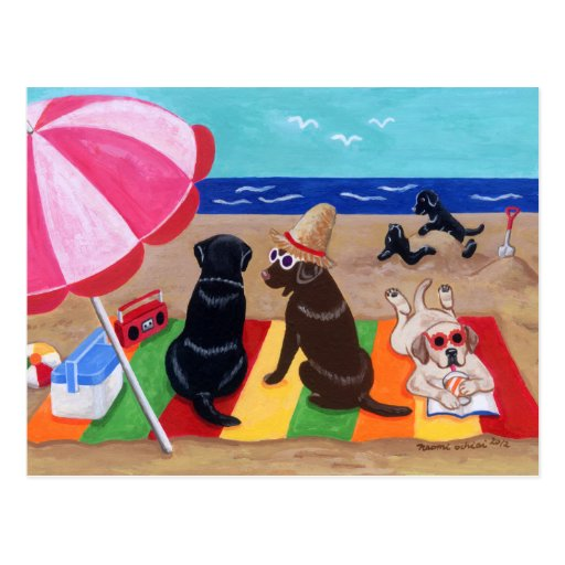 Summer Breeze Labradors Painting Postcard