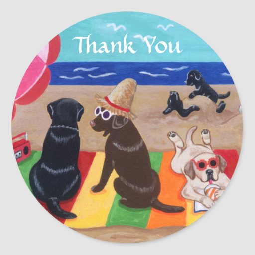 Summer Breeze Labradors Painting Thank You Classic Round Sticker