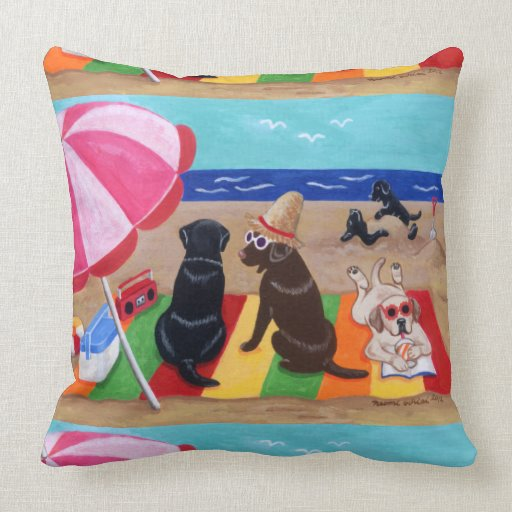 Summer Breeze Labradors Painting Throw Pillow