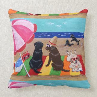 Summer Breeze Labradors Painting Throw Pillow