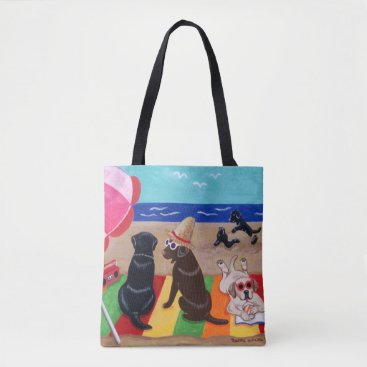 Summer Breeze Labradors Painting Tote