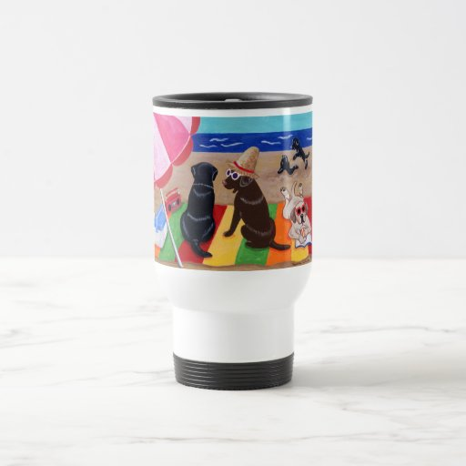 Summer Breeze Labradors Painting Travel Mug