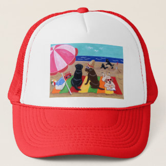 Summer Breeze Labradors Painting Trucker Hat