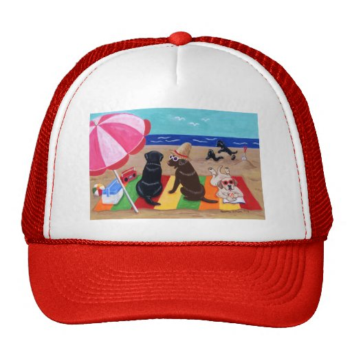 Summer Breeze Labradors Painting Trucker Hat