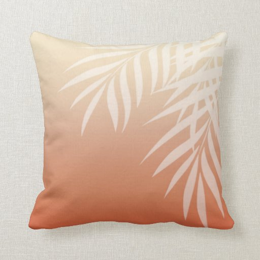 Summer Breeze Ombre Palm Fronds   peach Pillow