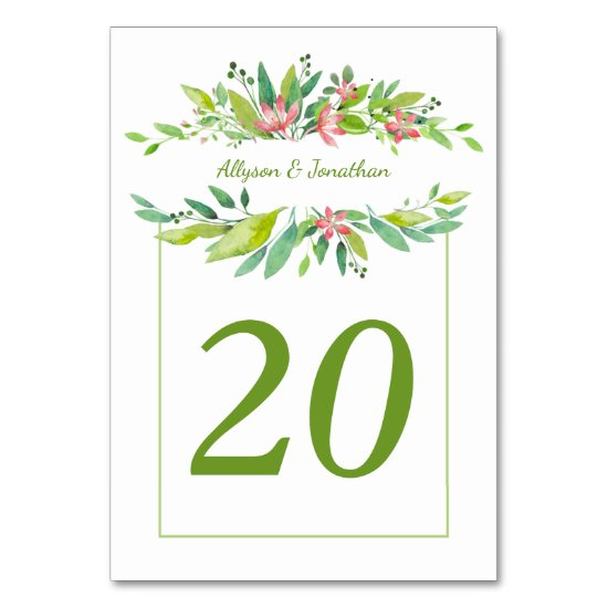 Summer Breeze Watercolor Leaves Pink Flowers | Table Number